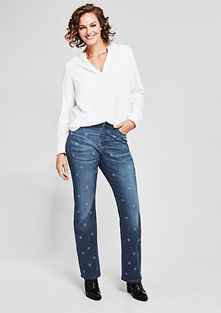 Curvy Straight: Jeans mit Muster