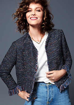 Bouclé look blazer jacket from s.Oliver