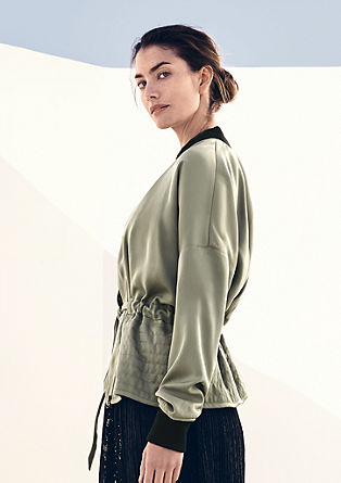 Satin bomber jacket with contrast details from s.Oliver