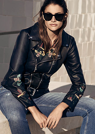 Biker jacket with embroidery from s.Oliver