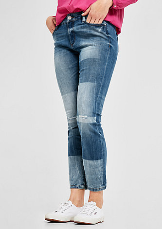 Regular Slim: Jeans im Patchwork-Look
