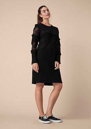 Sweatshirt dress with lace and ruffles from s.Oliver