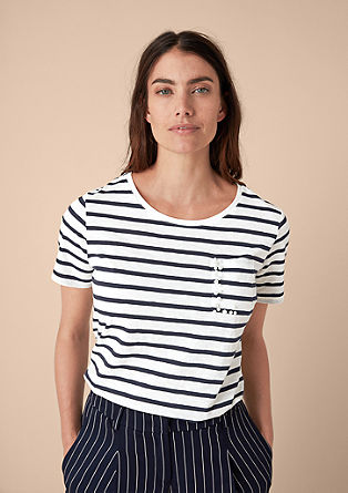 Shirt met strepen met sierkraaltjes