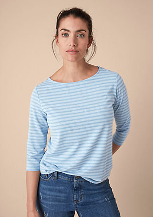 Sparkling striped top with 3/4-length sleeves from s.Oliver