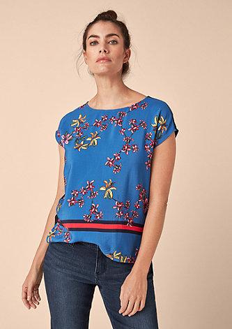 Lockeres Blumen-Shirt aus Crêpe