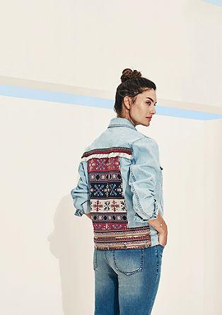 Jeans jakna z vezenino na hrbtni strani
