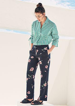 Jersey broek met florale print