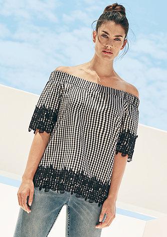 Off Shoulder-Bluse mit Blütenspitze