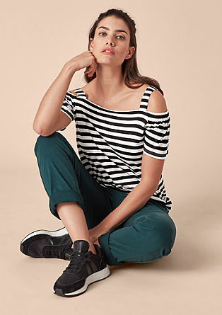 Off-the-shoulder top with stripes from s.Oliver