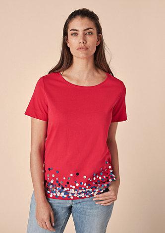 T-Shirt mit mehrfarbigen Pailletten