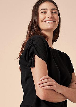 Fabricmix-Shirt mit Zierkordeln