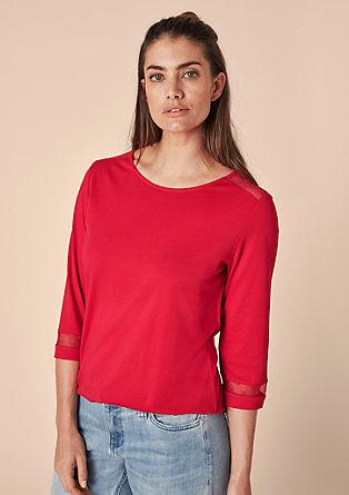 Shirt met mesh-inserts