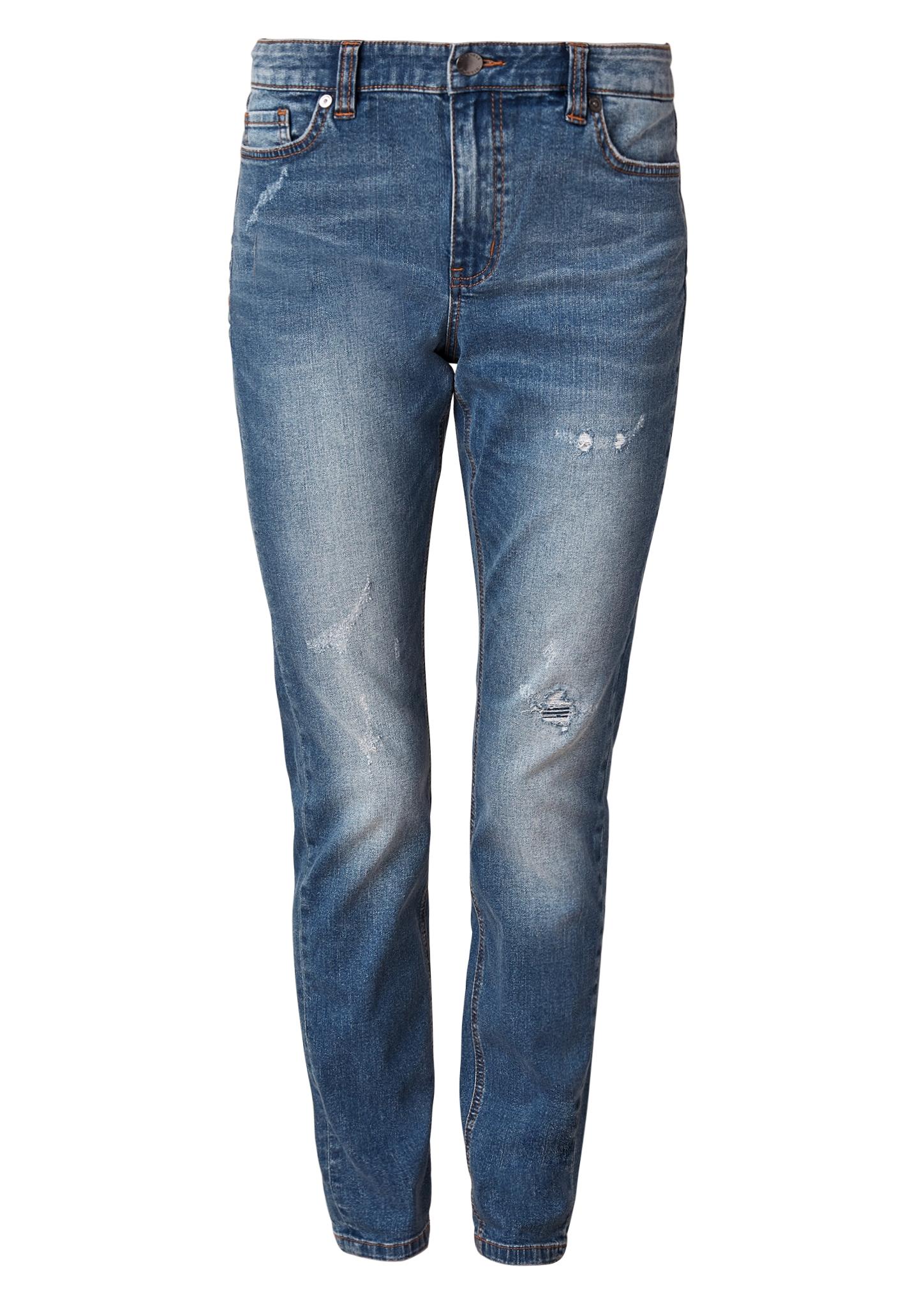 Boyfriend Jeans | Bekleidung > Jeans > Boyfriend-Jeans | Blau | 76% baumwolle -  16% polyester -  7% viskose -  1% elasthan| enthält nichttextile teile tierischen ursprungs (leder-patch) | TRIANGLE
