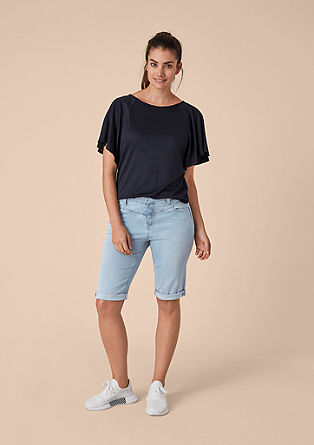 Curvy Straight: Denim-Bermuda