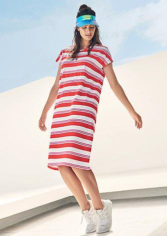 Blockstreifen-Kleid aus Baumwoll-Piqué