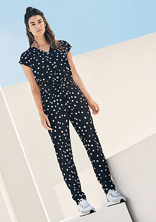 Wickel-Jumpsuit mit Polka Dots