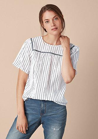 Crinkle-Bluse mit Nieten