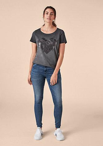Garment Dye-Shirt mit Pailletten