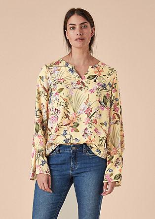 Satijnen blouse met bloemenmotief