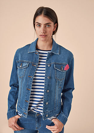 Denim jacket with a pin from s.Oliver