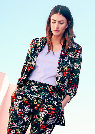 Floral blazer with pushed-up sleeves from s.Oliver