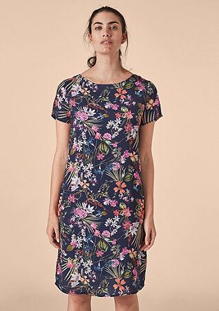 Satijnen jurk met bloemenmotief