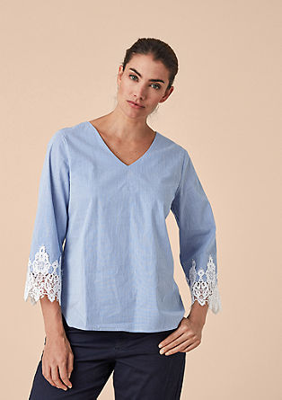 Pinstripe blouse with lace from s.Oliver