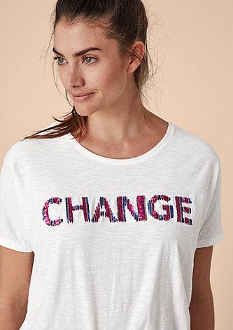 T-Shirt mit Pailletten-Wording