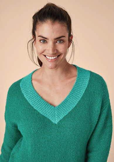 V-Neck-Pullover aus Wollmix