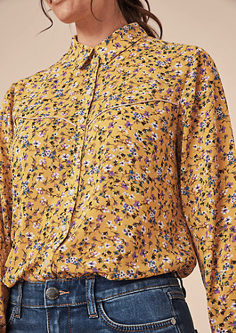 Crêpe-Bluse mit Blütenmuster