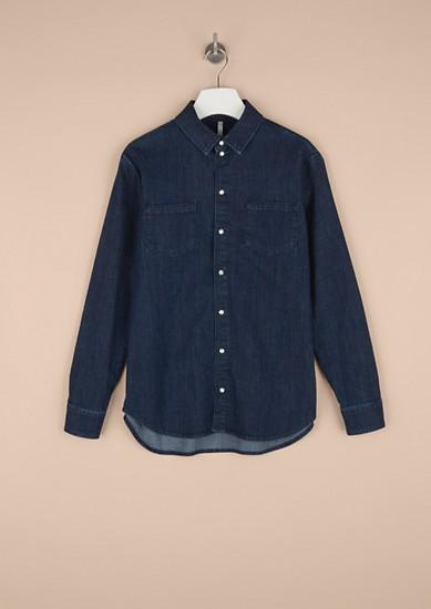 Denim blouse met drukknopen