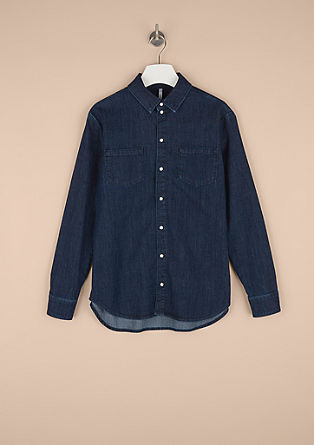 Denim blouse with press studs from s.Oliver