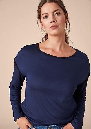 Viskose-Shirt mit Kontrastpaspeln