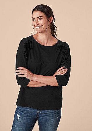 Jersey shirt met franjes als detail