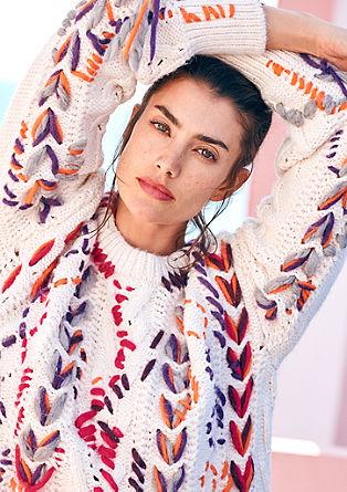Handbestickter Oversize-Pullover