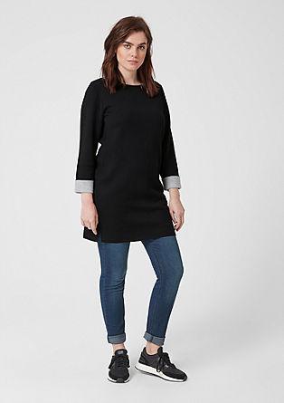 Long-Pullover mit heller Innenseite