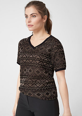 Jacquard shirt met metallic effect