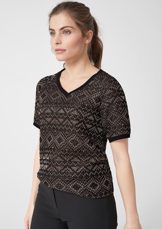 s.Oliver - Jacquard-Shirt mit Metallic-Effekt - 1