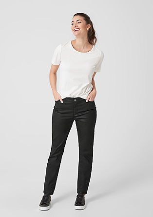 Curvy Slim Leg: Coated Denim