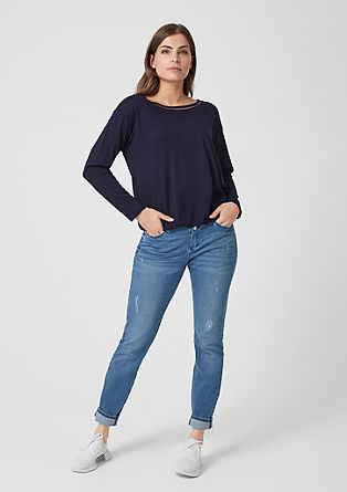 Long sleeve top with a mesh trim from s.Oliver