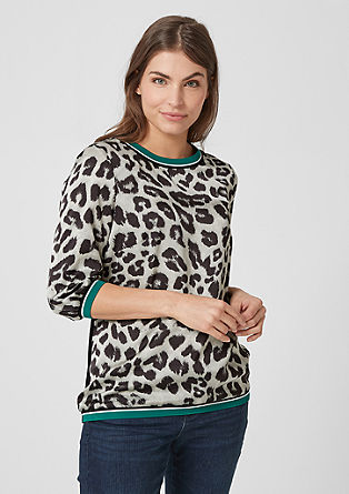Blouse top with a leopard print pattern from s.Oliver