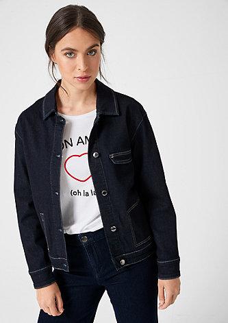Jeansjacke mit Kontrastnähten