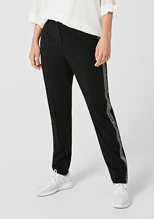 Jersey trousers with leopard tuxedo stripes from s.Oliver