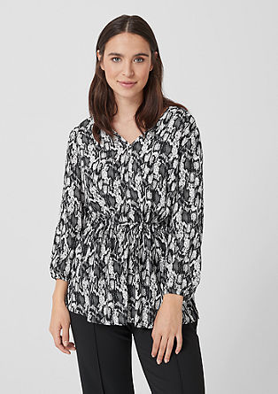V-Neck-Bluse mit Animal-Print