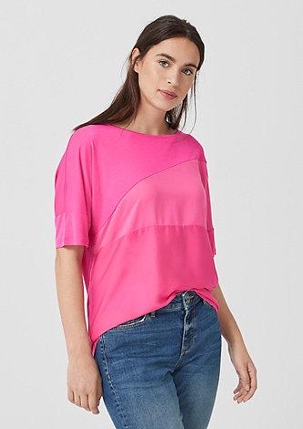 Shirt im Materialmix
