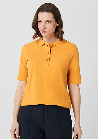 Poloshirt mit breiter Knopfleiste