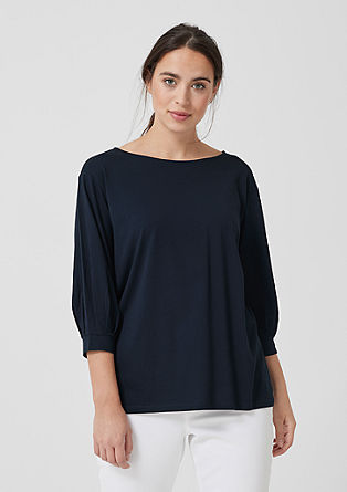 Jersey top with 3/4-length sleeves from s.Oliver