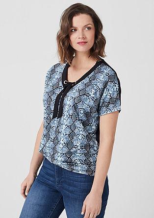 Shirt met V-hals en slangenmotief