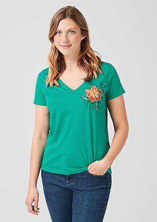 Shirt met motief van pailletjes