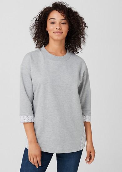 Sweatshirt mit Spitzen-Details